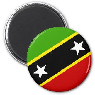 Santo San Cristobal y bandera de Nevis Imán Redondo 5 Cm