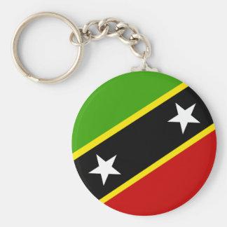 Santo San Cristobal y bandera de Nevis Llavero Redondo Tipo Pin