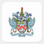 Santo San Cristobal y escudo de armas de Nevis Pegatina Cuadradas