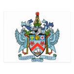 Santo San Cristobal y escudo de armas de Nevis Tarjeta Postal