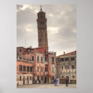 Santo Stefano en Venecia Italia Póster