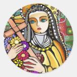 Santo Teresa de Jesús Pegatinas Redondas