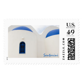 Santorini - a little white church with blue domes postage