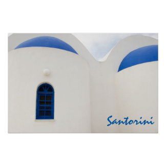 Santorini - a little white church with blue domes poster