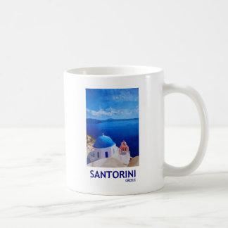 Santorini azul, Grecia - visión desde Oia Taza Básica Blanca