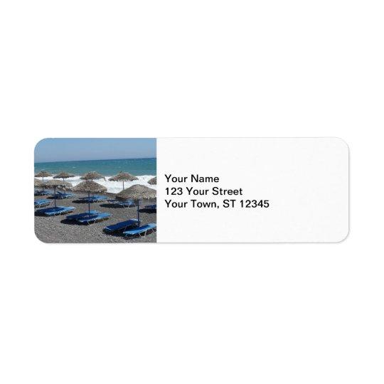 Santorini Beach, Greece Label