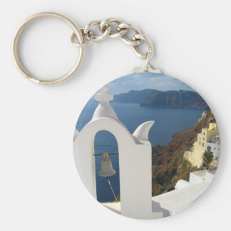 Santorini Bell Tower in the Afternoon Sun Keychain