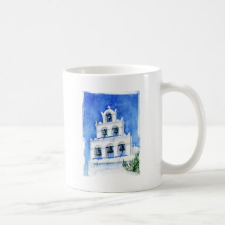 Santorini belltower watercolor painting coffee mug