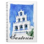Santorini belltower watercolor painting note books