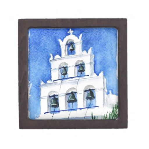 Santorini belltower watercolor painting premium trinket box