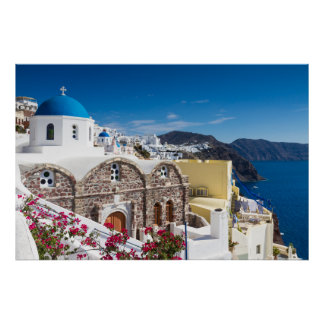 Santorini - Blue domed church at Oia poster