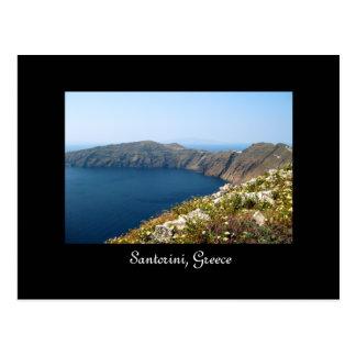 Santorini Caldera Wildflowers Postcard