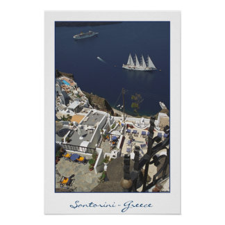 Santorini Caldiera View (film photography) Poster