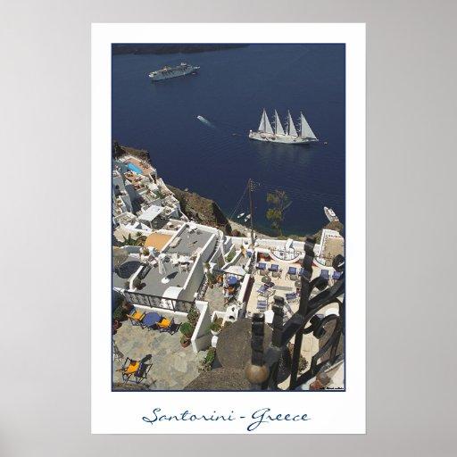 Santorini Caldiera View (film photography) Poster