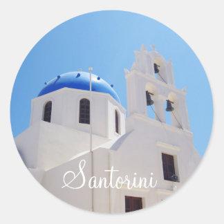 Santorini cathedral Greece Classic Round Sticker