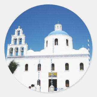 Santorini Cathedral square Classic Round Sticker