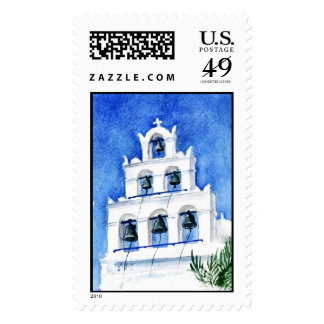 Santorini Cathedral watercolor Postage Stamps