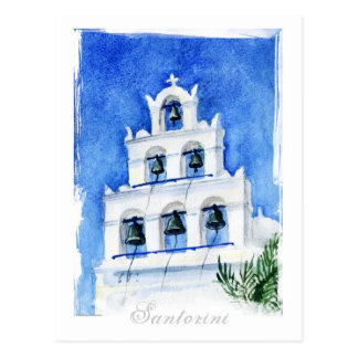 Santorini Cathedral watercolor Postcards
