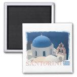 Santorini Church 2 Inch Square Magnet