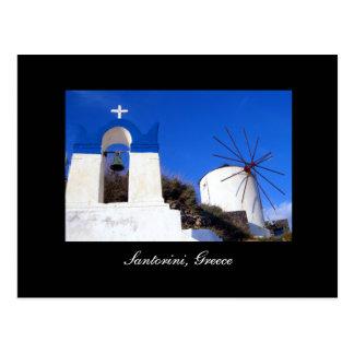 Santorini Church and Windmill Postcard
