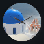 "Santorini Church in the Afternoon Sun Large Clock<br><div class=""desc"">The dome of a Santorini church shimmers in the afternoon sun.</div>"