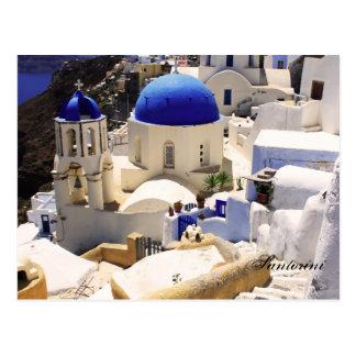 Santorini churches postcard