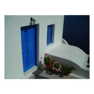Santorini Doorstep Print
