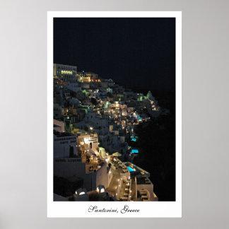 Santorini en la noche posters