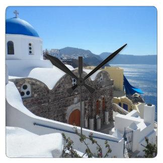 Santorini, Grecia Reloj Cuadrado