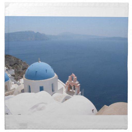 Santorini Grecia Servilletas Imprimidas