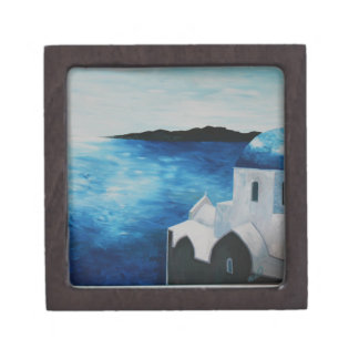 Santorini, Greece - Blue Dome Premium Keepsake Box