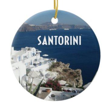 Beach Themed Santorini Greece Ceramic Ornament