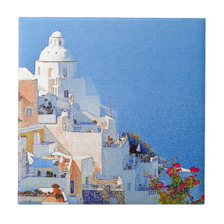 """Santorini, Greece"" Ceramic Tile"