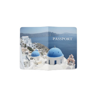 Santorini Greece church travel Passport Holder