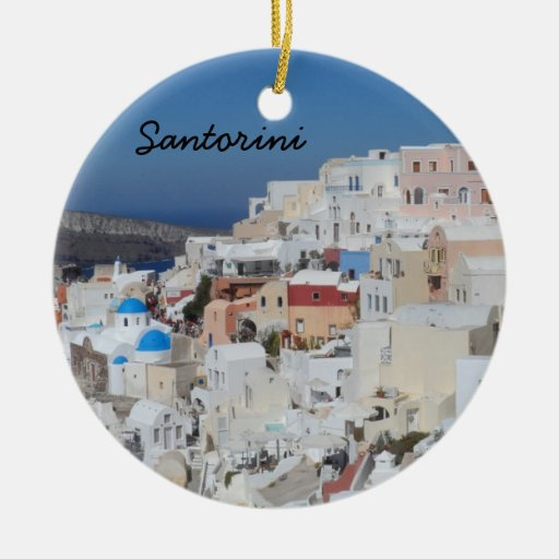 Santorini, Greece Double-sided Ceramic Round Christmas Ornament