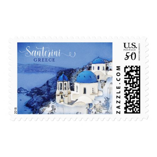 Santorini Greece Illustrated postal postage stamp