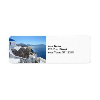 Santorini, Greece Label