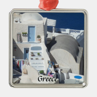 Santorini, Greece Metal Ornament