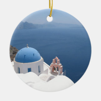 Santorini Greece Double-Sided Ceramic Round Christmas Ornament