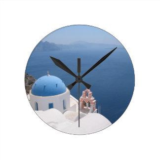 Santorini Greece Round Clock