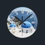 """Santorini Greece Round Clock<br><div class=""""desc"""">artist`s original photo</div>"""