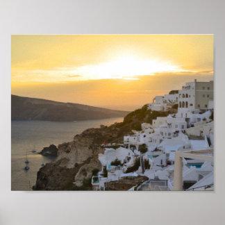 Santorini, Greece. Sunset Poster