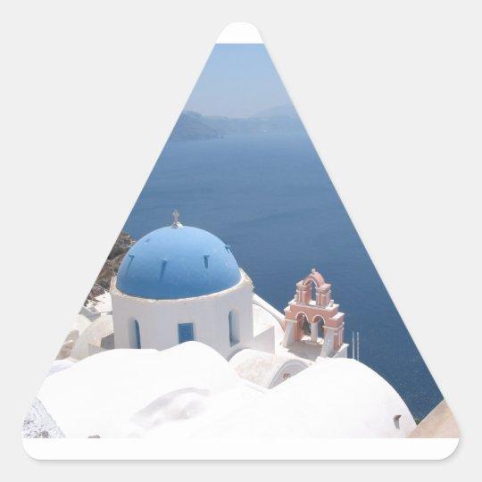 Santorini Greece Triangle Sticker