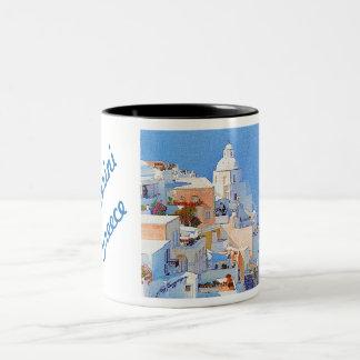 """Santorini, Greece"" Two-Tone Coffee Mug"