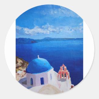 Santorini, Greece - View from Oia Classic Round Sticker