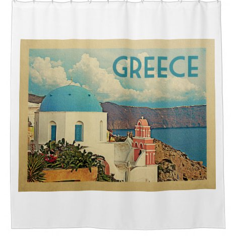 Santorini Greece Vintage Travel Shower Curtain