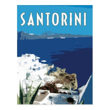 Beach Themed Santorini Greece vintage travel style Postcard