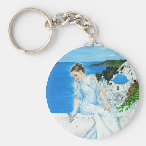 Santorini greek beauty island Keychain