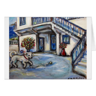 Santorini Greek Island house with little happy dog Card