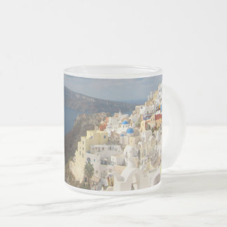 Santorini in the Afternoon Sun Frosted Glass Coffee Mug